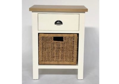 White Bedside Table with Rattan Basket