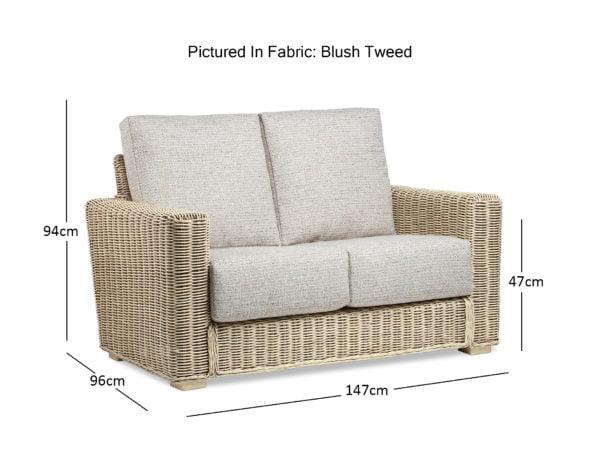 Burford Natural Wash Tweed Blush 2seater Sofa Dimensions