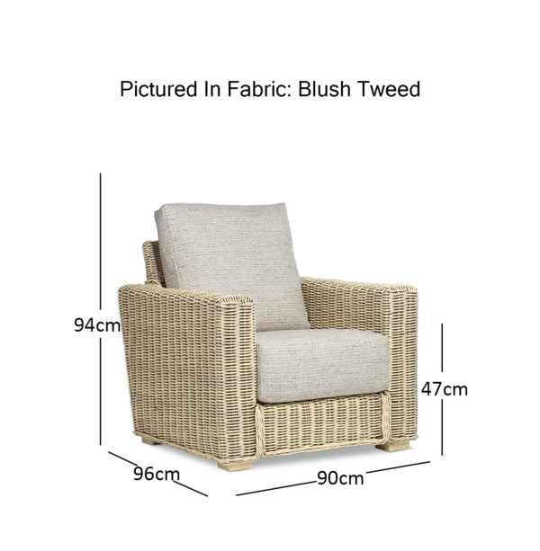 Burford Natural Wash Tweed Blush Chair Dimensions