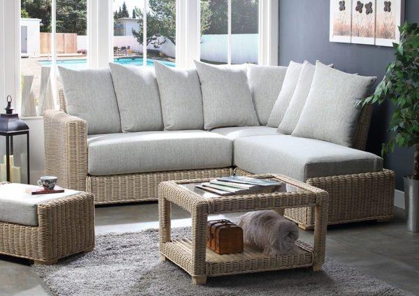 Burford Pebble Fabric Corner Sofa Right Web
