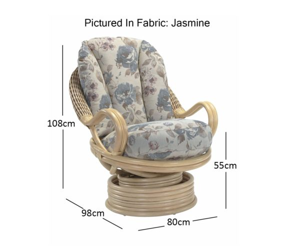 Opera Natural Deluxe Swivel Rocker In Jasmine Dimensions