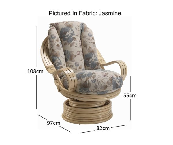 Opera Natural Swivel Rocker In Jasmine Dimensions