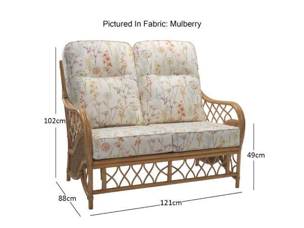 Oslo Light Oak 2 Seater Sofa In Mulberry 10872 Dimensions