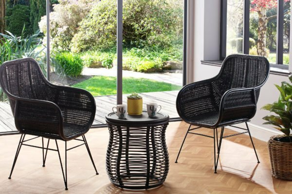 2 black porto chairs and royal lamp table lifestyle b