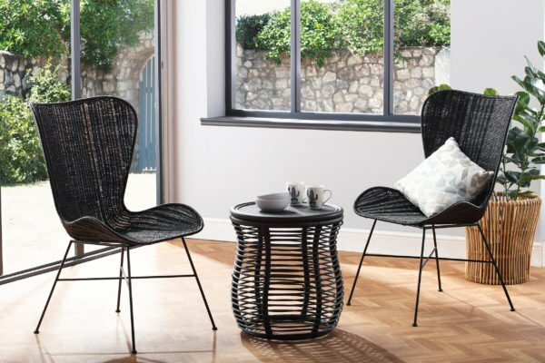2 black porto wing chairs and royal lamp table lifestyle