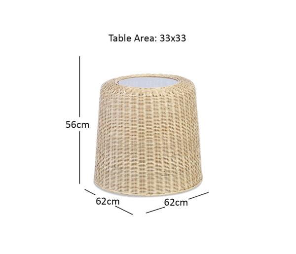 313310 Woven Round Lamp Table In Natural Dimensions