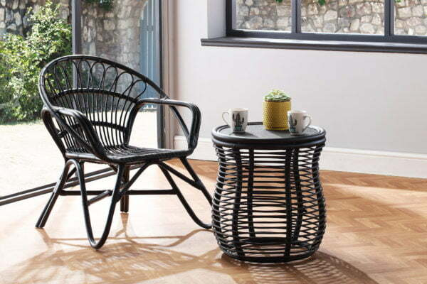 black nordic chair and royal lamp table lifestyle