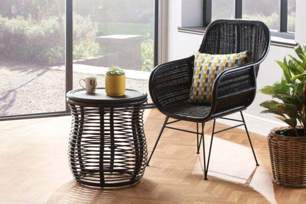 black porto chair and royal lamp table lifestyle