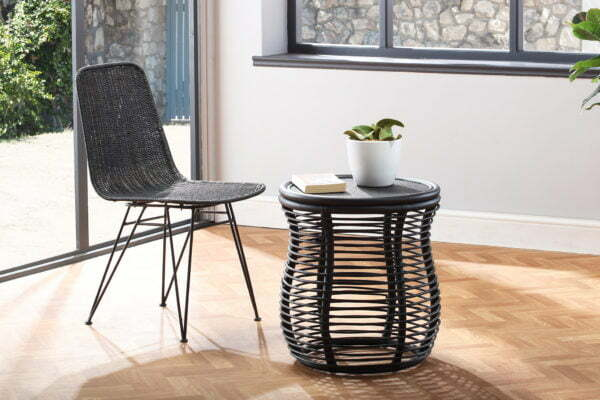 black porto dining chair and royal lamp table lifestyle