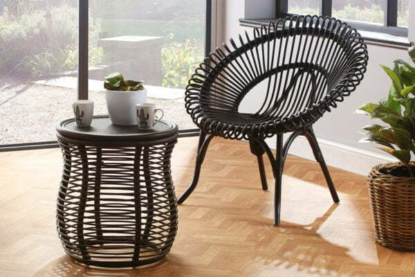 black shanghai chair and royal lamp table lifestyle
