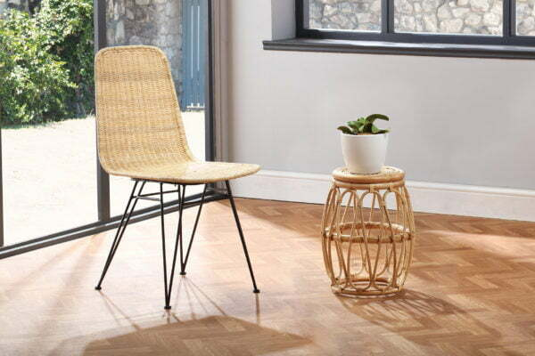 natural porto dining chair and beijing lamp table lifestyle