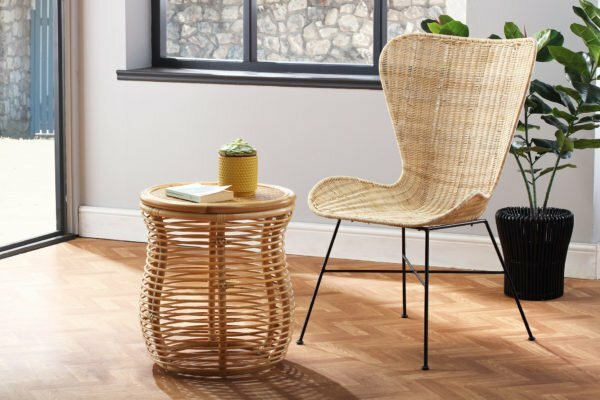 natural porto wing chair and royal lamp table lifestyle