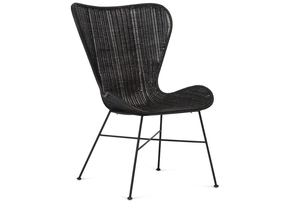 Porto rattan wing chair black