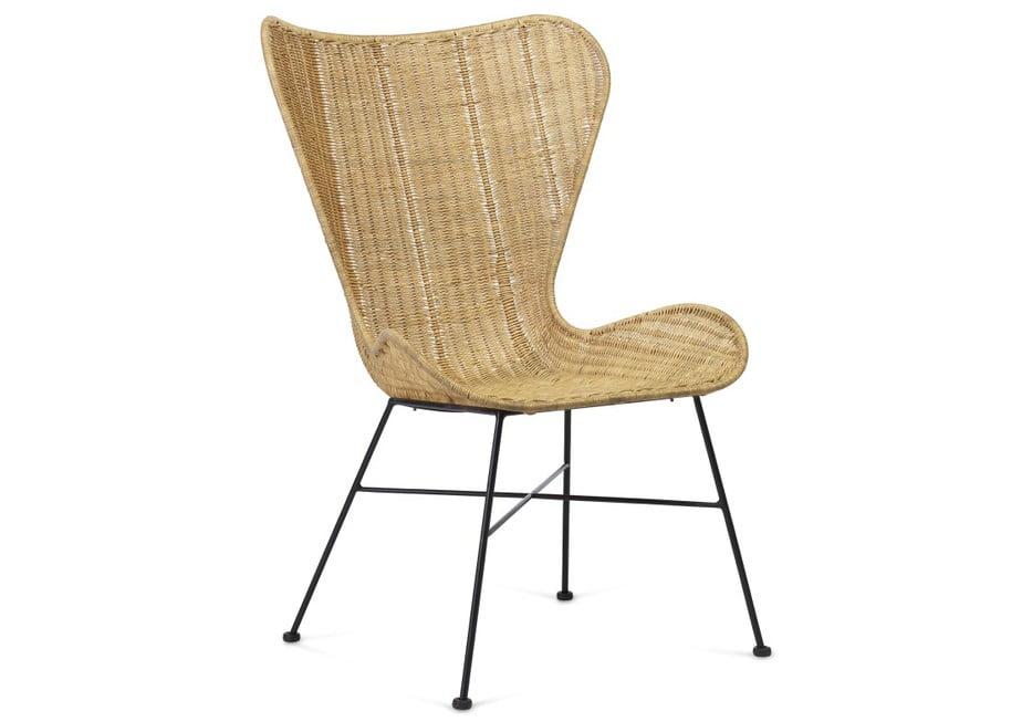 Porto wing Wicker chair natural