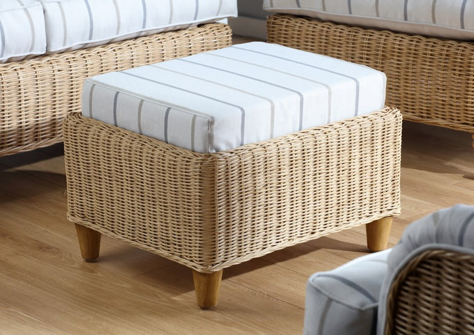 SEVILLE Linen Taupe Fabric Footstool SMALL