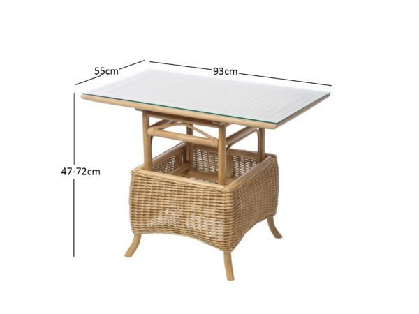 Camden Light Oak Adjustable Woven Table Dimensions