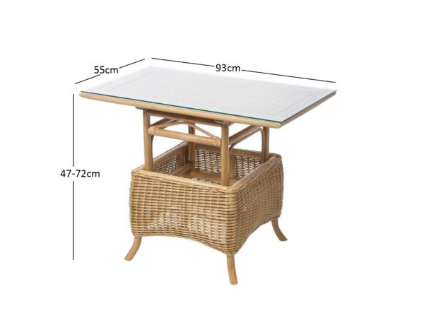 Centurion 8 Woven Adjustable Table Up Demensions