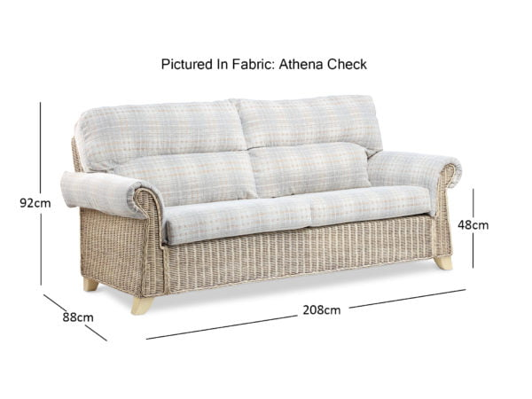 Clifton Natural Wash Athena Check 3seater Sofa Dimensions