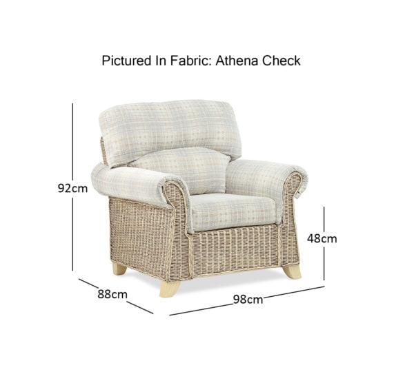 Clifton Natural Wash Athena Check Chair Dimensions