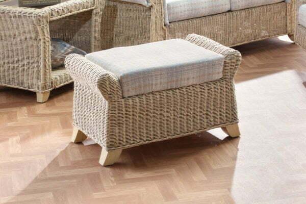 Clifton Natural Wash Athena Check Footstool Set