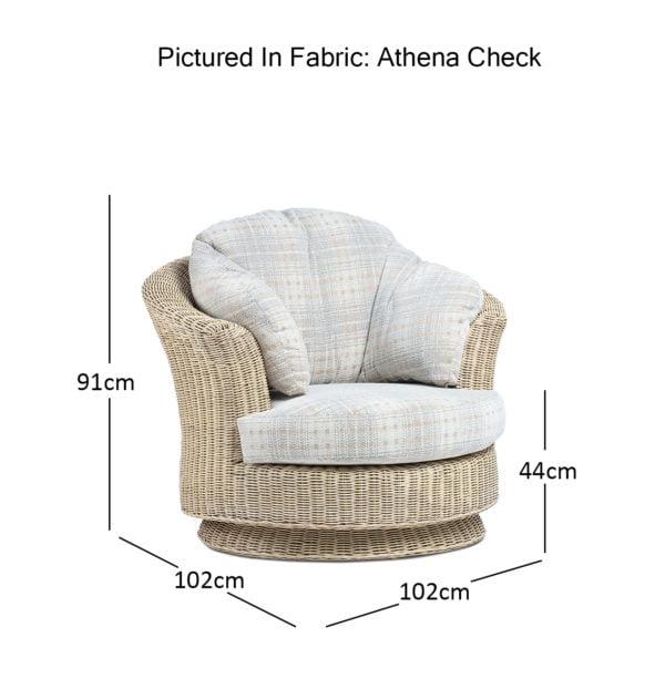 Clifton Natural Wash Athena Check Lyon Swivel Chair Dimensions