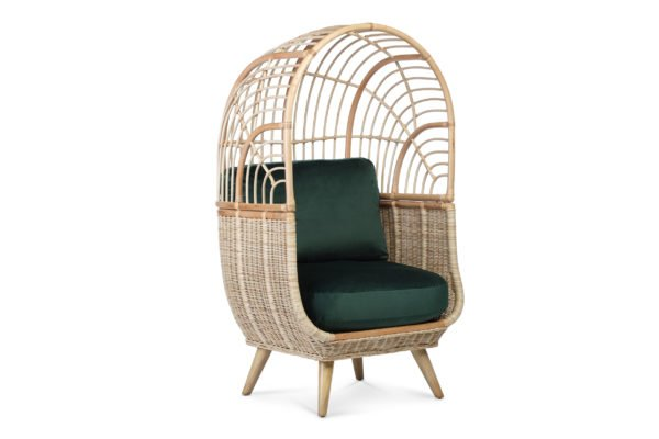 cocoon chair in velvet green