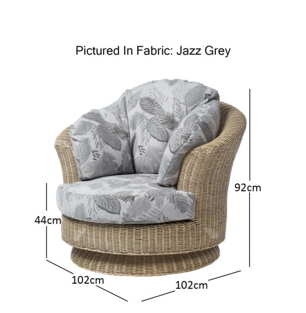 Corsica 4 Dijon Swivel In Jazz Grey Dimensions