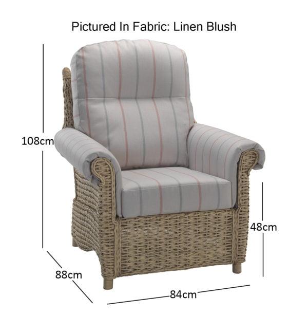 Harlow Chair Linen Blush 11515 Dimensions