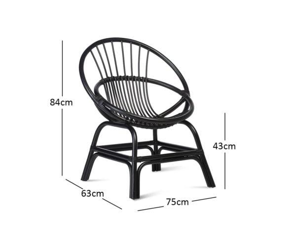 Moon Chair Black Dimensions