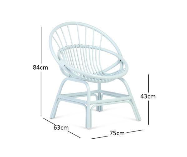 Moon Chair Blue Dimensions