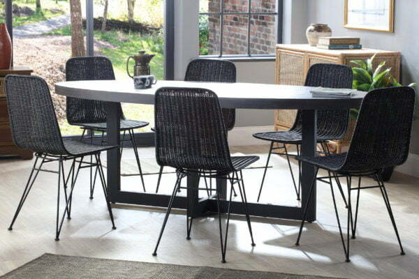 porto black wicker chairs with slate florence table