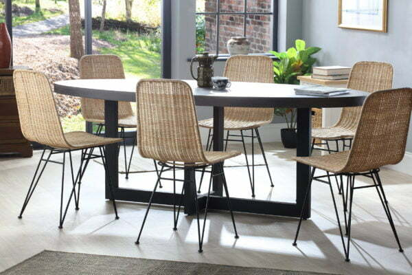 porto natural wicker chairs with slate florence table