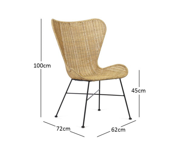 Porto Wing Chair Natural Dimensions