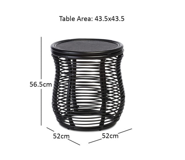 Royal Lamp Table Black Dimensions