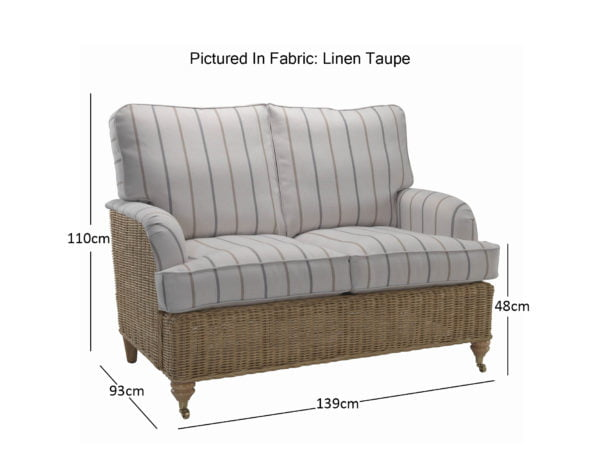 Seville 2 Seater Sofa In Linen Taupe 11462 Dimensions