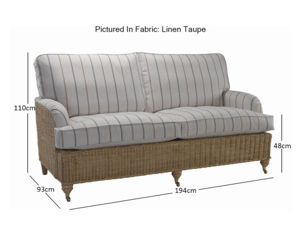 Seville 3 Seater Sofa In Linen Taupe 11485 Dimensions