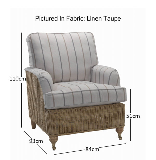 Seville Chair In Linen Taupe 11464 Dimensions