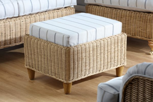 Seville Linen Taupe Fabric Footstool Small 1