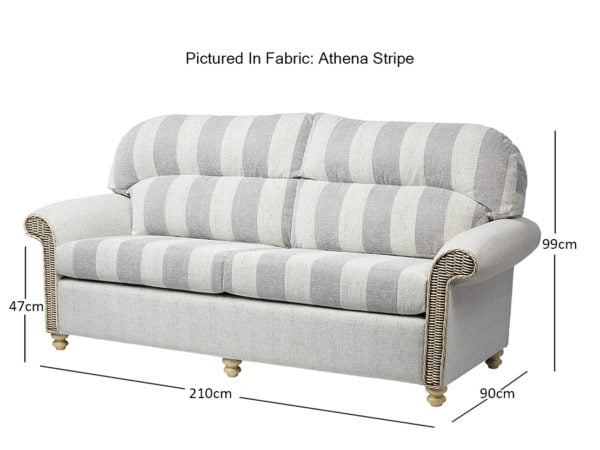 Stamford 3 3 Seater Traditional Back In Athen Stripe Dimensions