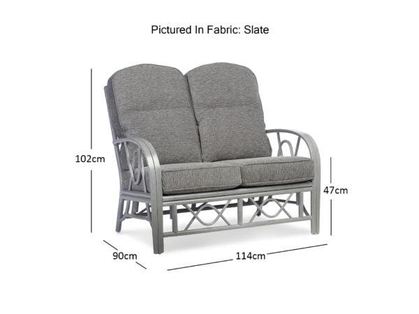 Bali Grey 2 Seater Dimensions