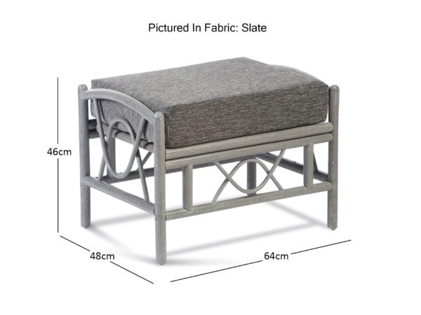 Bali Greywash Footstool In Slate Dimensions