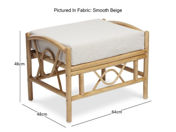 Bali Light Oak Footstool With Smooth Beige Footstool Dimensions