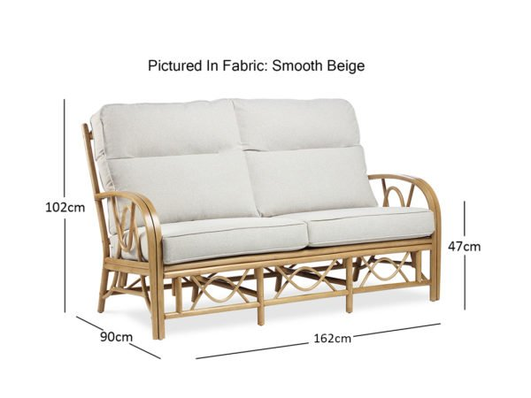 Bali Light Oak Smooth Beige 3seater Sofa Dimensions 1