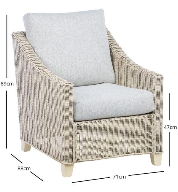 Dijon 1 Chair In Pebble Dimensions
