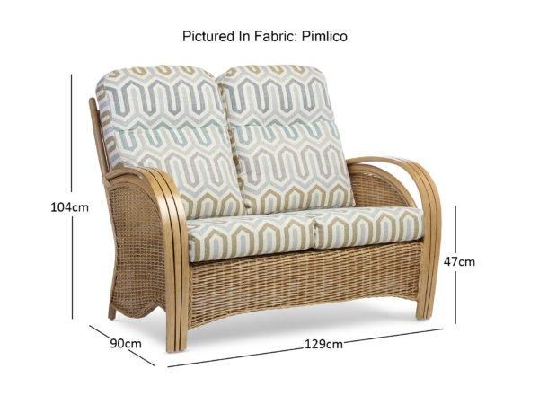 Manila Light Oak Pimlico 2 Seater Sofa Dimensions