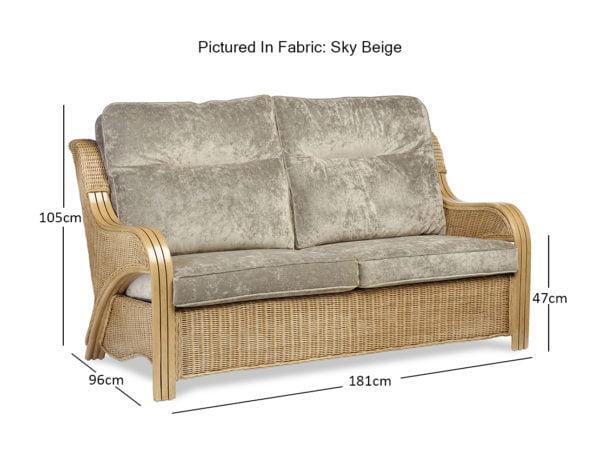 Opera Light Oak Sky Beige 3 Seater Sofa Dimensions
