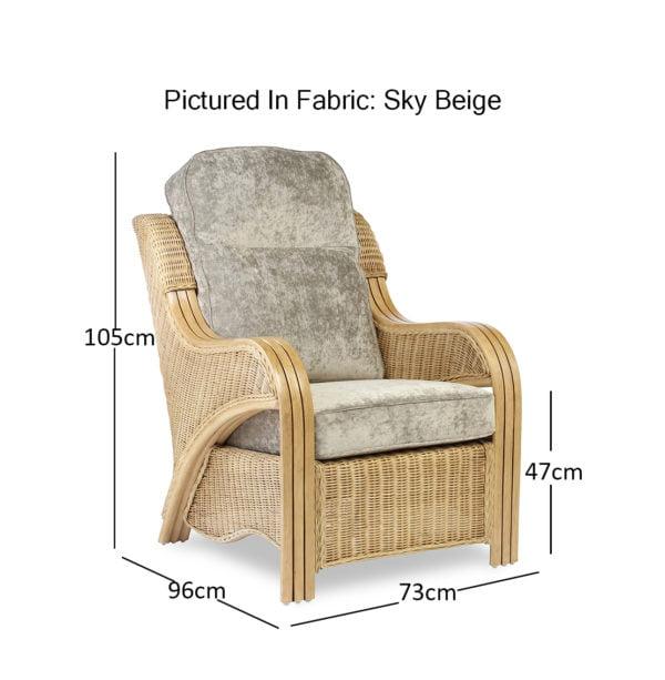 Opera Light Oak Sky Beige Chair Dimensions