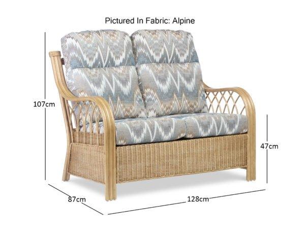 Viola Light Oak Alpine 2seater Sofa Dimensions
