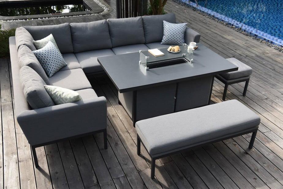 Aruba Patio Corner Sofa Set with Fire Pit Table | Desser & Co