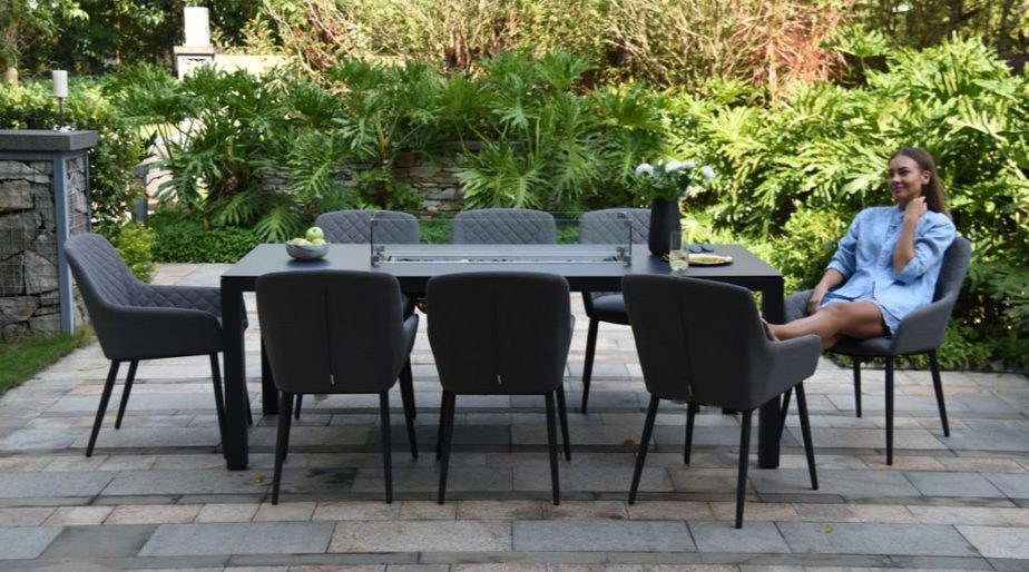 Aruba 8 Seater Set With Fire Pit Dining Table